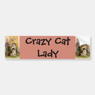 Vintage Pet Animals Victorian Cats Kittens Flowers Car Bumper Sticker
