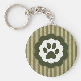 vintage pet paw basic round button keychain