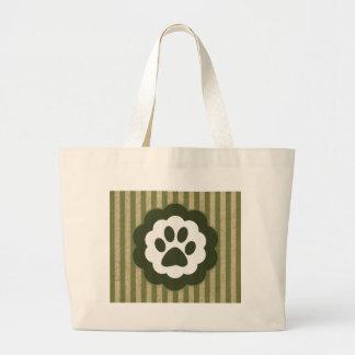 vintage pet paw large tote bag