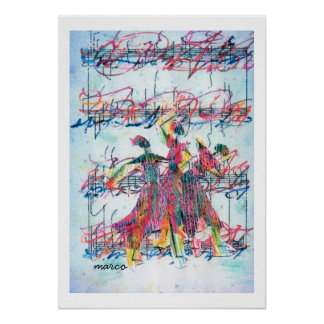 Vintage Peter Max style jazz dancers poster