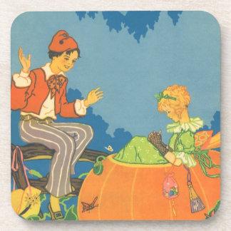 Vintage Peter Peter Pumpkin Eater Nursery Rhyme Coasters