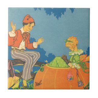 Vintage Peter Peter Pumpkin Eater Nursery Rhyme Ceramic Tiles