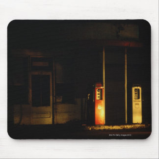 Vintage petrol pumps at night, Riddle, Oregon, Mouse Pad