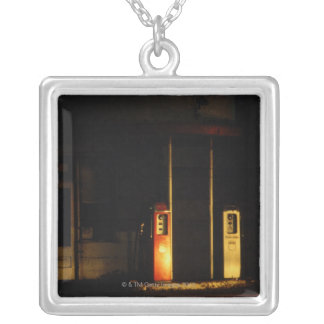 Vintage petrol pumps at night, Riddle, Oregon, Silver Plated Necklace