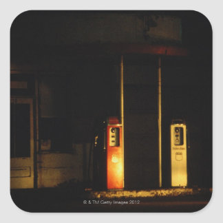 Vintage petrol pumps at night, Riddle, Oregon, Square Sticker