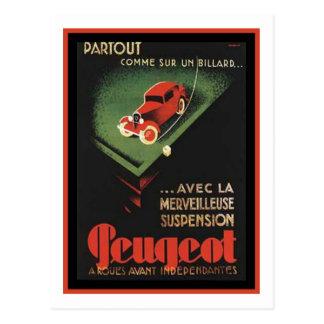 Vintage Peugeot Ad - Partout Comme sur un billard Postcard