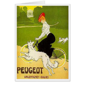 Vintage Peugeot Woman Riding Cycle with Dog Runnin Card