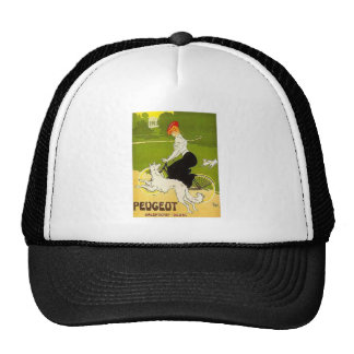 Vintage Peugeot Woman Riding Cycle with Dog Runnin Trucker Hat