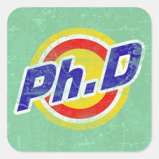 Vintage Ph.D o PhD o doctor de la filosofía Pegatina Cuadrada