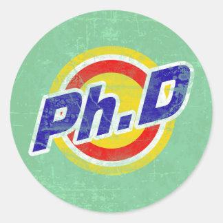 Vintage Ph.D o PhD o doctor de la filosofía Pegatina Redonda