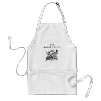 Vintage Pheasant Game Bird Drawing BW Adult Apron