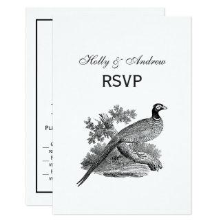 Vintage Pheasant Game Bird Drawing BW Card