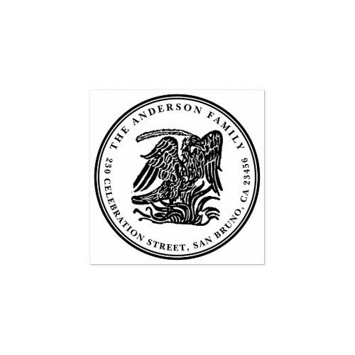 Vintage Phoenix Round Family Name Return Address Rubber Stamp
