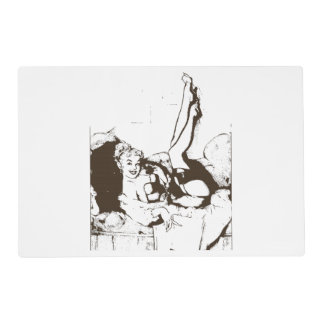 Vintage Phone Pin Up Girl Placemat