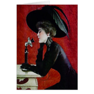 vintage phone woman black dress hat lady card