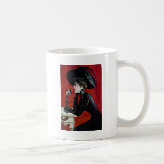 vintage phone woman black dress hat lady coffee mug