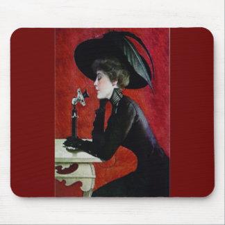 vintage phone woman black dress hat lady mouse pad