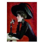 Vintage Phone Woman Black Dress Hat Lady Postcard at Zazzle