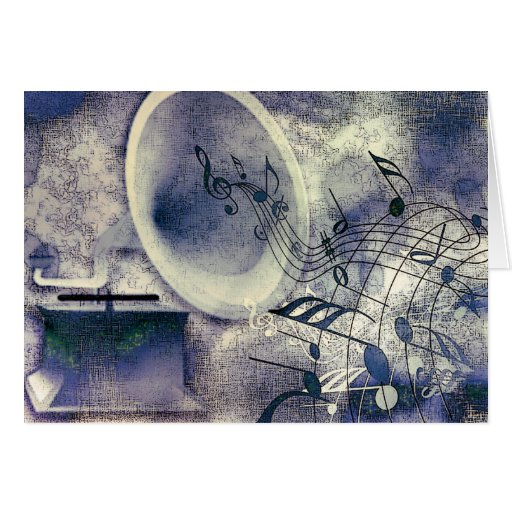 Vintage Phonograph and Music Greeting Card