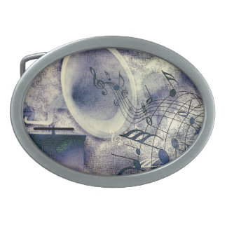 Vintage Phonograph and Music Oval Belt Buckle