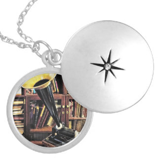 Vintage Phonograph In Library Circa 1880 Silver Plated Necklace