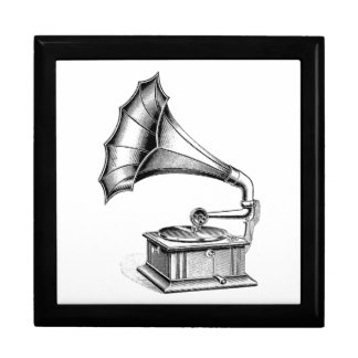 Vintage Phonograph Record Player Music Instrument Gift Box