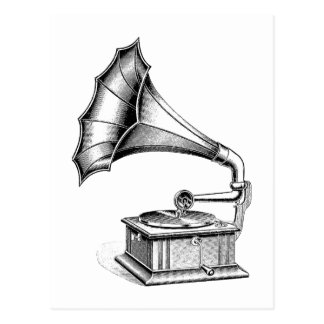 Vintage Phonograph Record Player Music Instrument Postcard