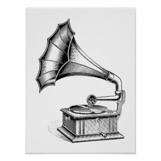 Vintage Phonograph Record Player Music Instrument Poster