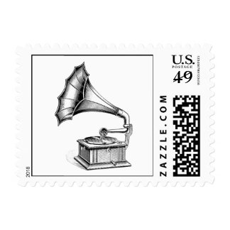 Vintage Phonograph Record Player Music Instrument Stamp