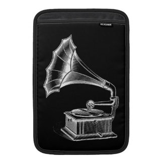 Vintage Phonograph Record Player Musical Black Sleeves For MacBook Air