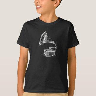 Vintage Phonograph Record Player Musical Black T-Shirt