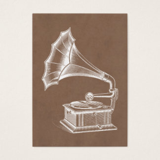 Vintage Phonograph Record Player Musical Parchment Business Card