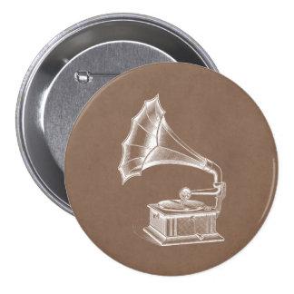 Vintage Phonograph Record Player Musical Parchment Pinback Button