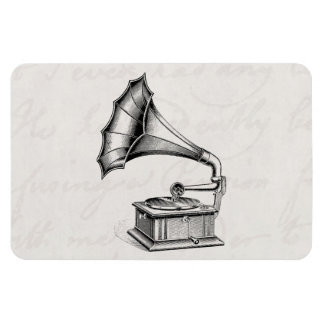 Vintage Phonograph Record Player Musical Parchment Rectangular Photo Magnet