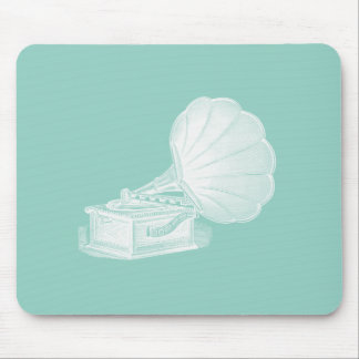 Vintage Phonograph Sea Green White Gramophone Cool Mouse Pad