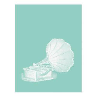 Vintage Phonograph Sea Green White Gramophone Cool Postcard