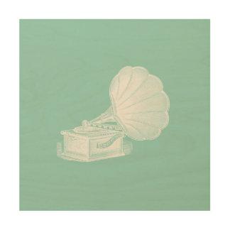 Vintage Phonograph Sea Green White Gramophone Cool Wood Wall Art