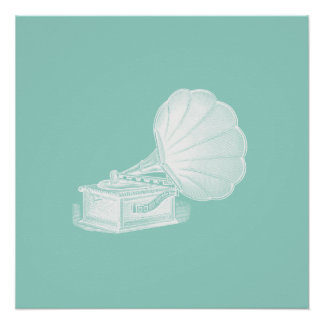 Vintage Phonograph Sea Green White Gramophone Cool Perfect Poster