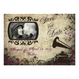 Vintage Phonograph Wedding Save the Date Card