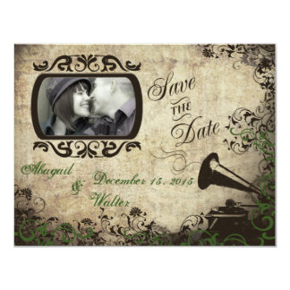 Vintage Phonograph Wedding Save the Date Green Card