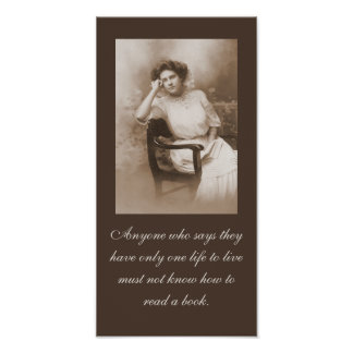 Vintage Photo Book / Reader Quote Library Poster