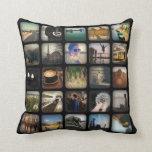 Vintage Photo Collage Retro Round Border Pillows