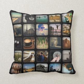 Vintage Photo Collage Retro Round Border Throw Pillow