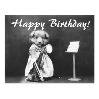 Vintage Photo Dog Playing Violin Birthday Postcard