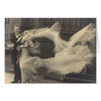 Vintage Photo Flowing Dress and Veil Wedding Card