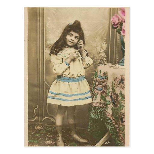 vintage photo girl postcard