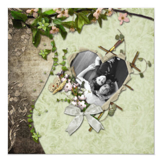 """Vintage Photo Heart Cutout Save The Date 5.25"""" Square Invitation Card"""