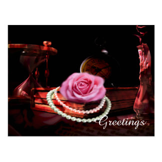 Vintage photo mix of rose, book and sand clock postcard