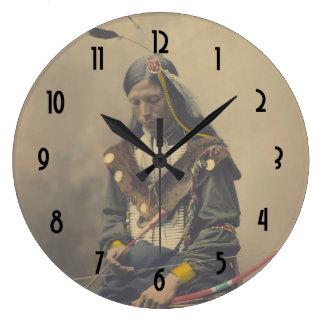 Vintage Photo Native American Lakota Indian Chief Large Clock