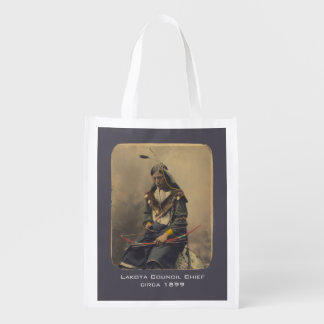Vintage Photo Native American Lakota Indian Chief Reusable Grocery Bag